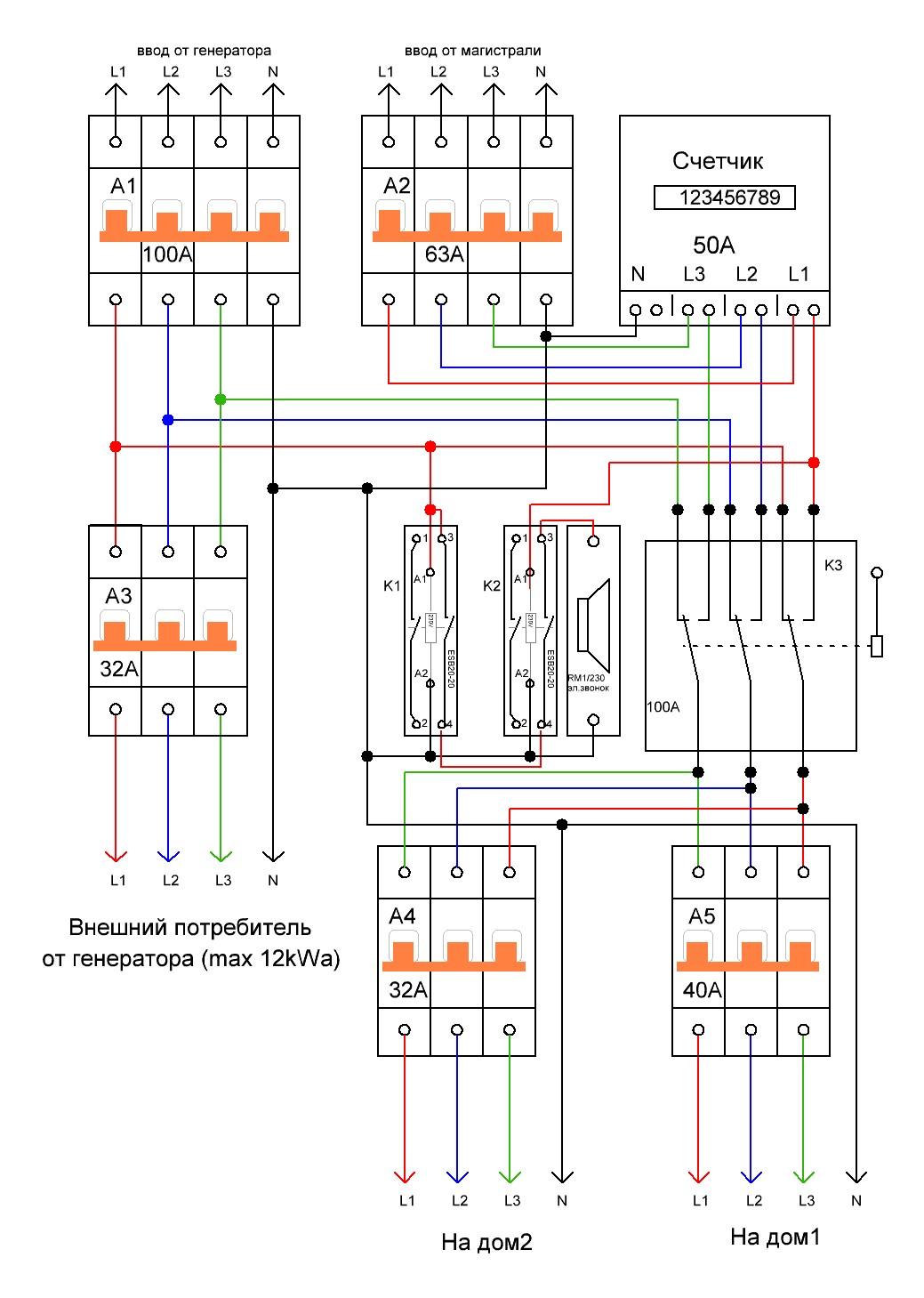 схема подключения генератора к 3 фазной сети