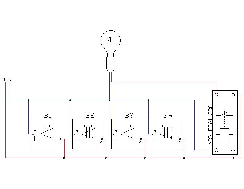 Проходнве выключатель установка. Управление светом из трёх мест и более с помощью кнопочных выключателей