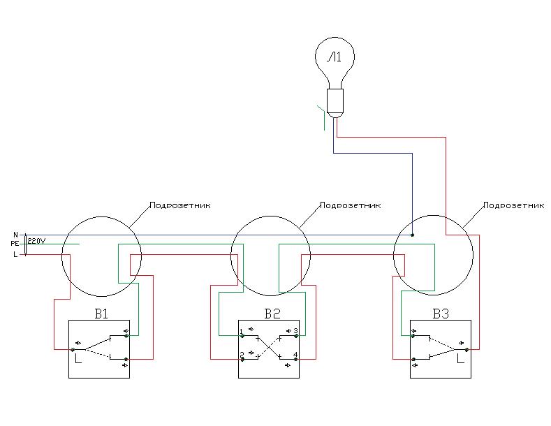 Проходные выключатели. Вариант монтажа кабеля для управления светом из трёх мест
