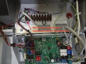 Подключение манометрического выключателя от турбонадставки к плате котла Protherm klom 17
