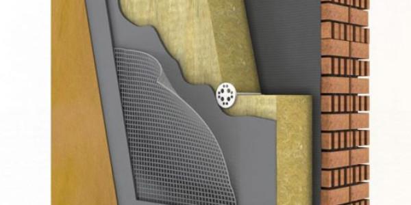 Разрез готовой стены с применением минеральной плиты