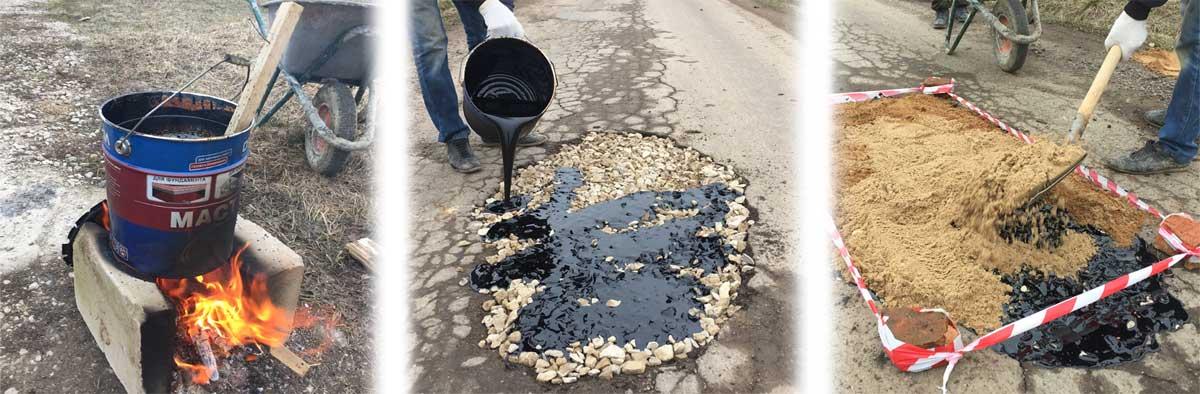 Ямочный ремонт дороги своими силами.