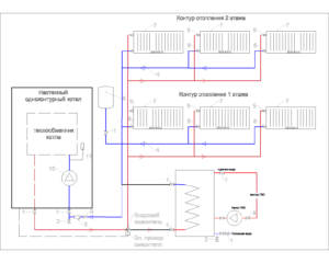 Отопление на 2 этажа + бойлер косвенного нагрева